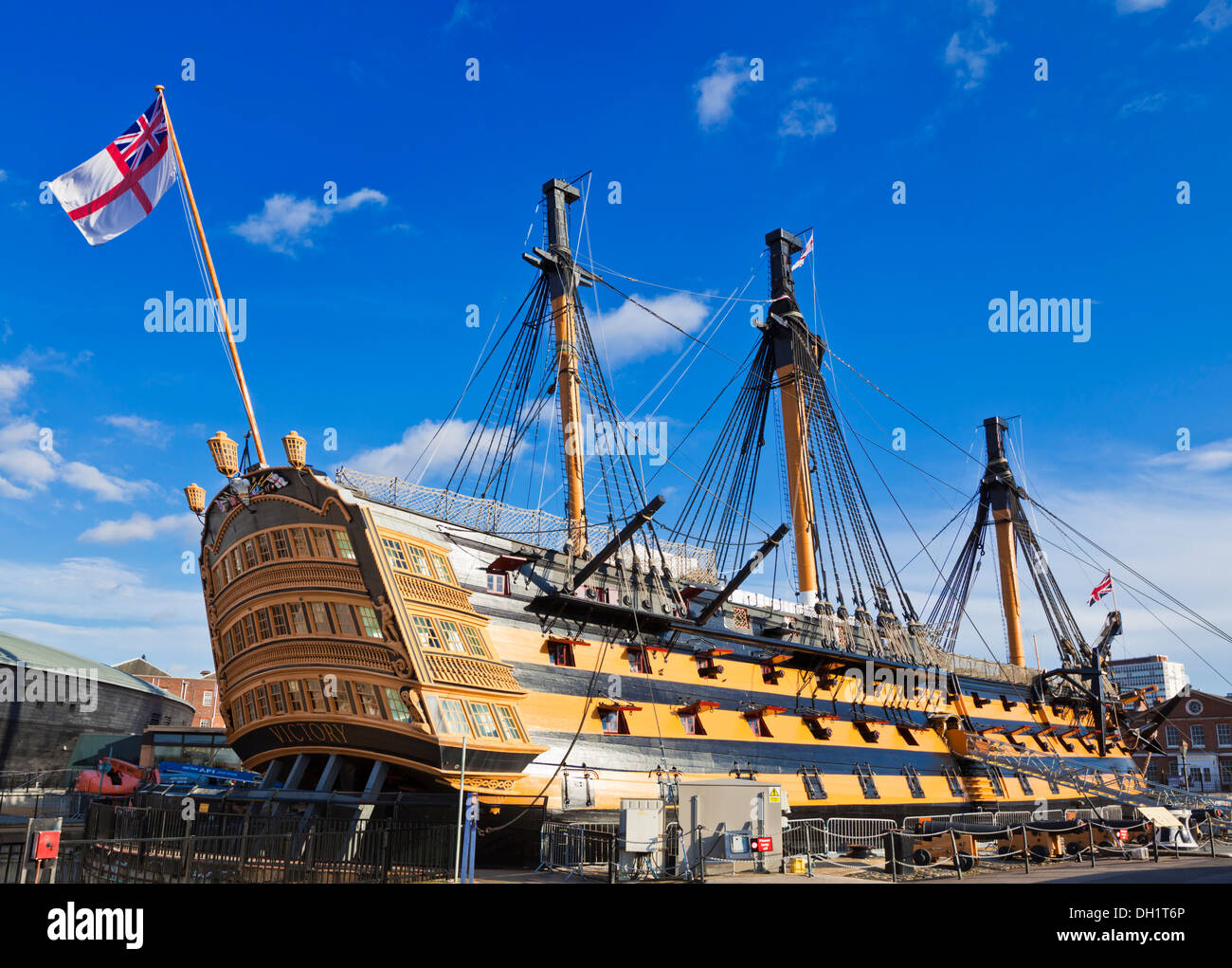 HMS Victory in the Portsmouth Historic Dockyard Portsmouth Hampshire England UK GB EU Europe - Stock Image