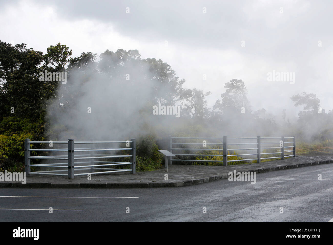 Steam vents, hot springs, Hawaii Volcanoes National Park, Big Island, Hawaii, USA - Stock Image
