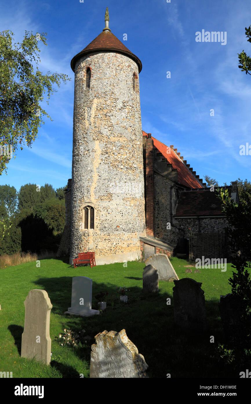 Bawburgh, Norfolk, round tower church, churchyard graveyard tombstones medieval English churches towers England UK - Stock Image
