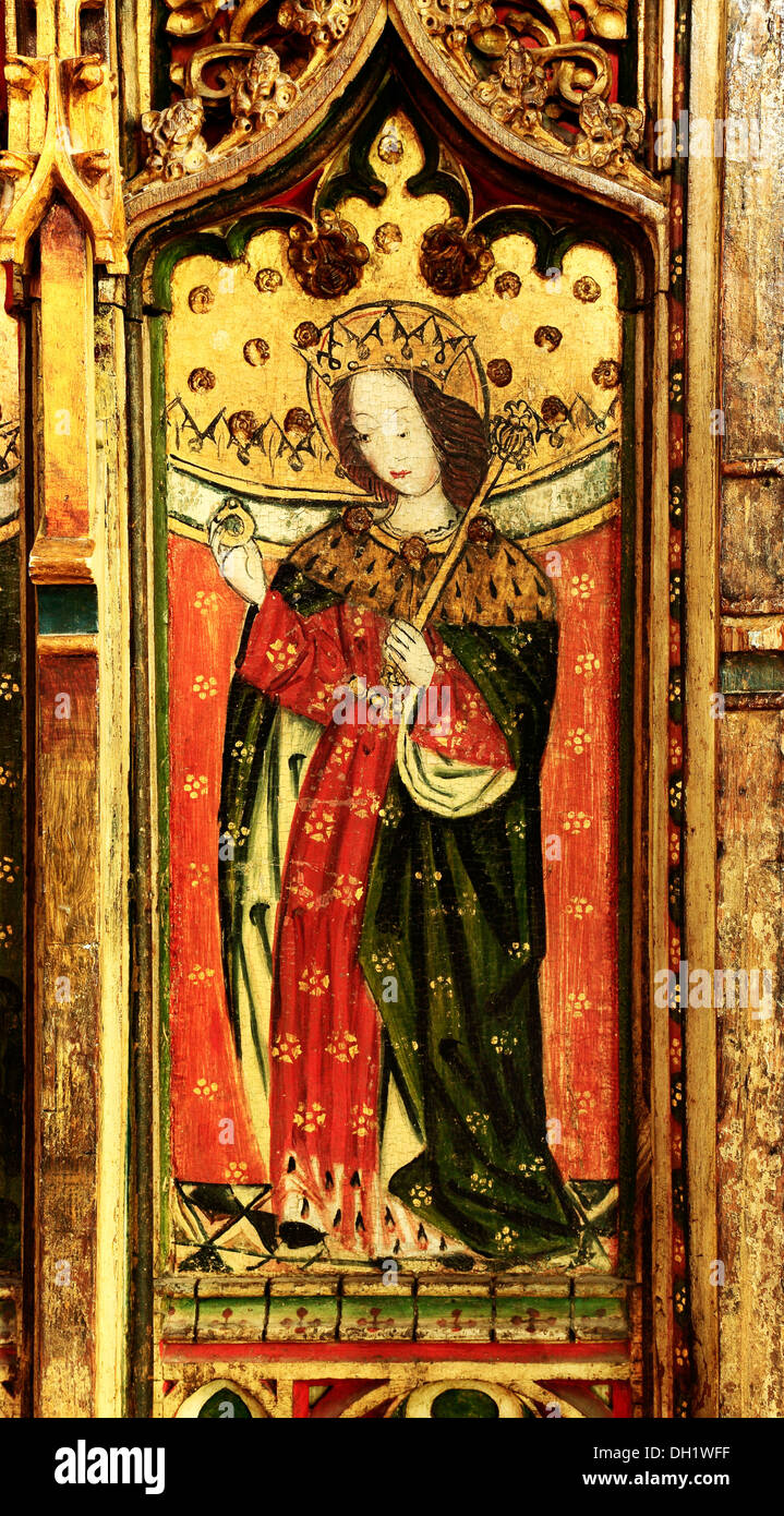 Eye, Suffolk, St. Edward the Confessor, medieval 15th century rood screen painting paintings screens UK - Stock Image