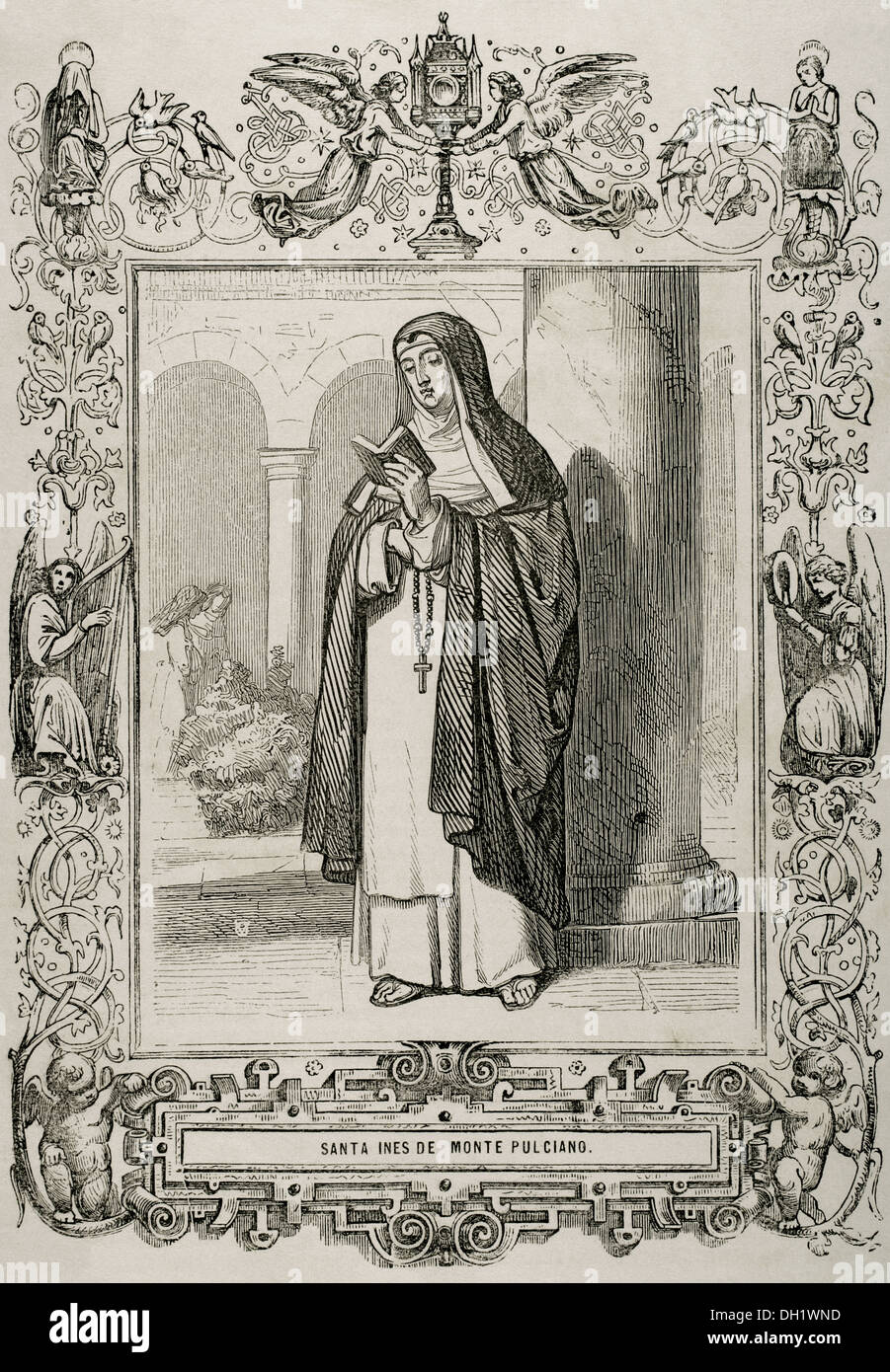 Saint Agnes of Montepulciano (1268-1317). Dominican prioress. Engraving by Capuz. The Christian Year, 1852. - Stock Image