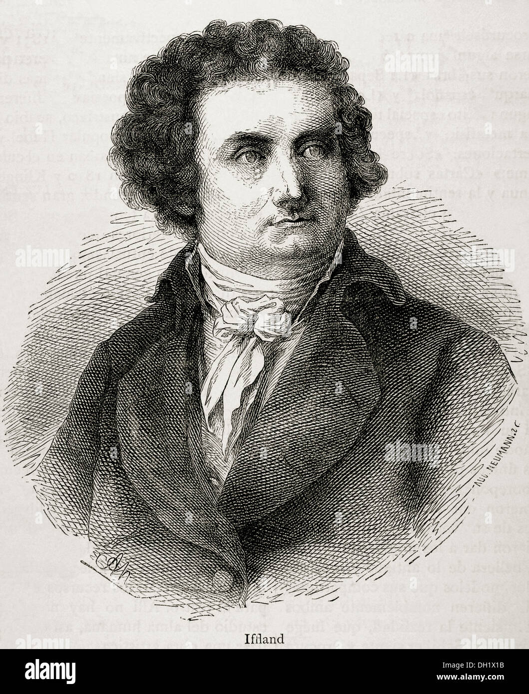 August Wilhelm Iffland (1759-1814). German actor and playwright. Engraving in Our Century, 1883. - Stock Image
