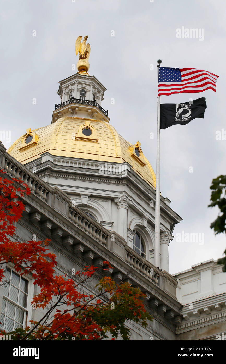 Dome, State House, Capitol in Concord, New Hampshire, USA Stock Photo