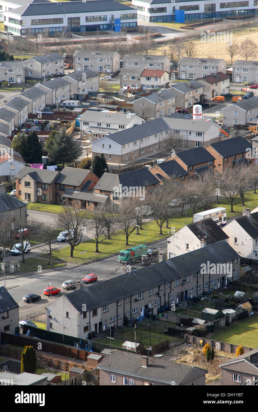 Low altitude aerial view of social housing in Stirling, Stirlingshire, Scotland - Stock Image