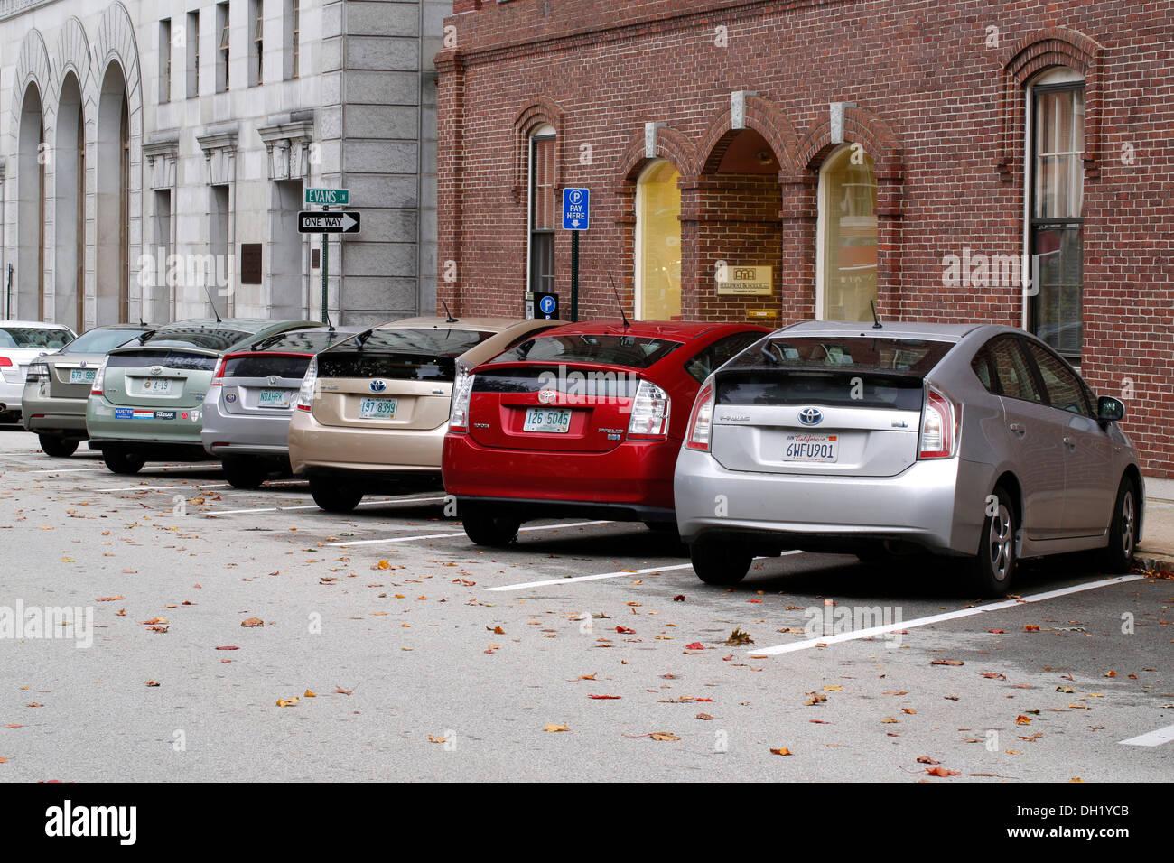 Row of Toyota Prius hybrid vehicles, Concord, New Hampshire, USA - Stock Image