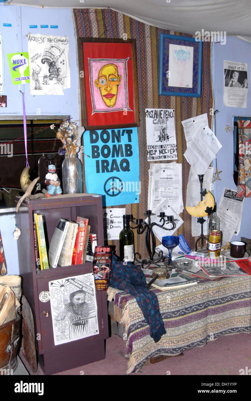 Interior of Faslane Peace Camp protester's caravan Stock Photo