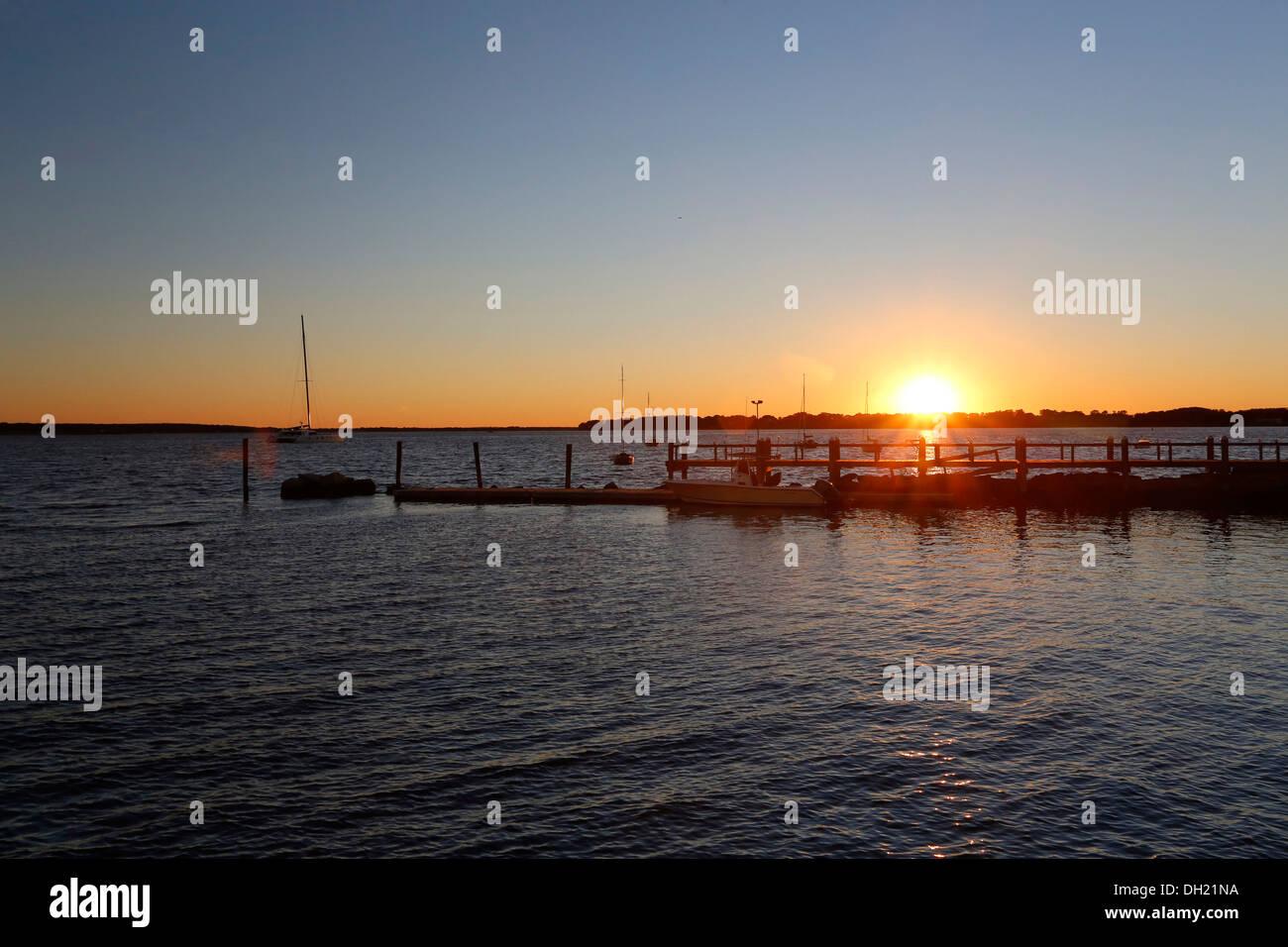 Bristol harbour at sunset, Rhode Island, USA - Stock Image