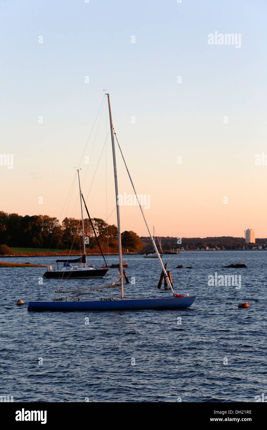 Bristol harbour, evening mood, Rhode Island, USA - Stock Image