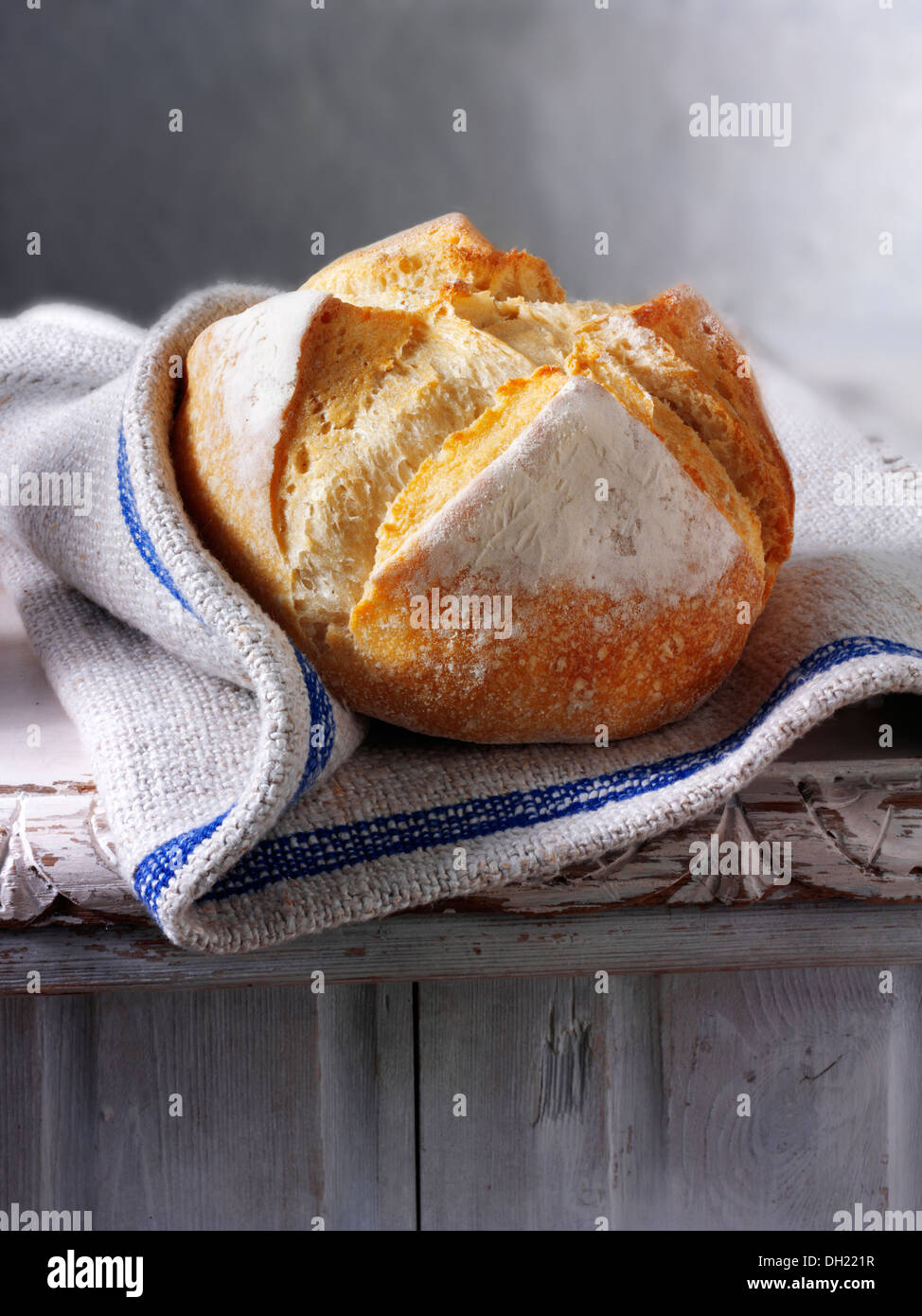 Artisan organic Pain Au Levain French Bread - Stock Image