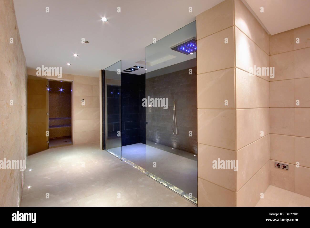 Large Walk In Shower In Modern Bathroom In Newly Built Villa In Southern  Spain