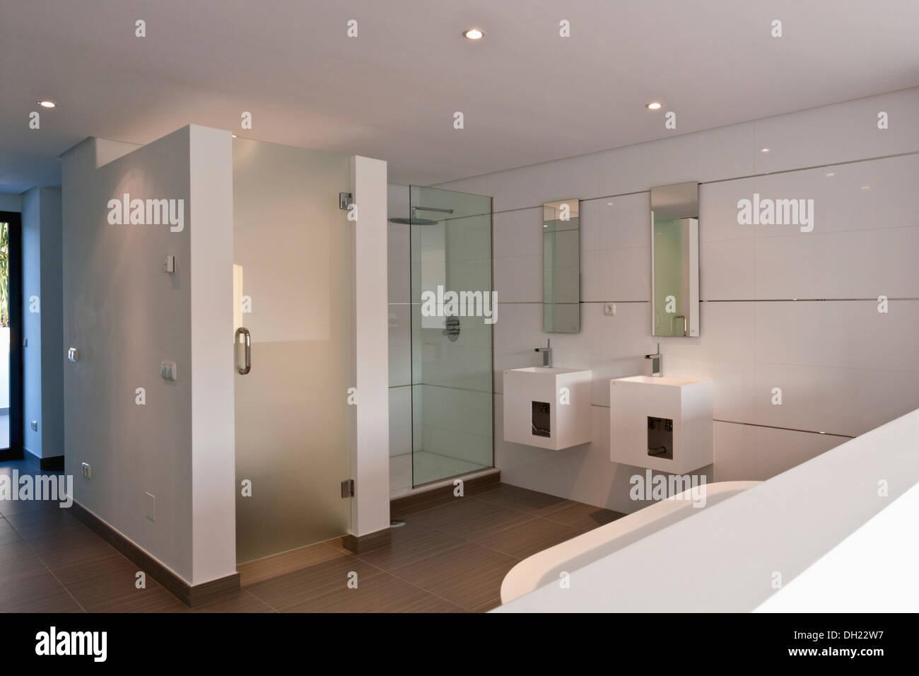 Bathroom Shower Door Monochromatic Stock Photos & Bathroom Shower ...