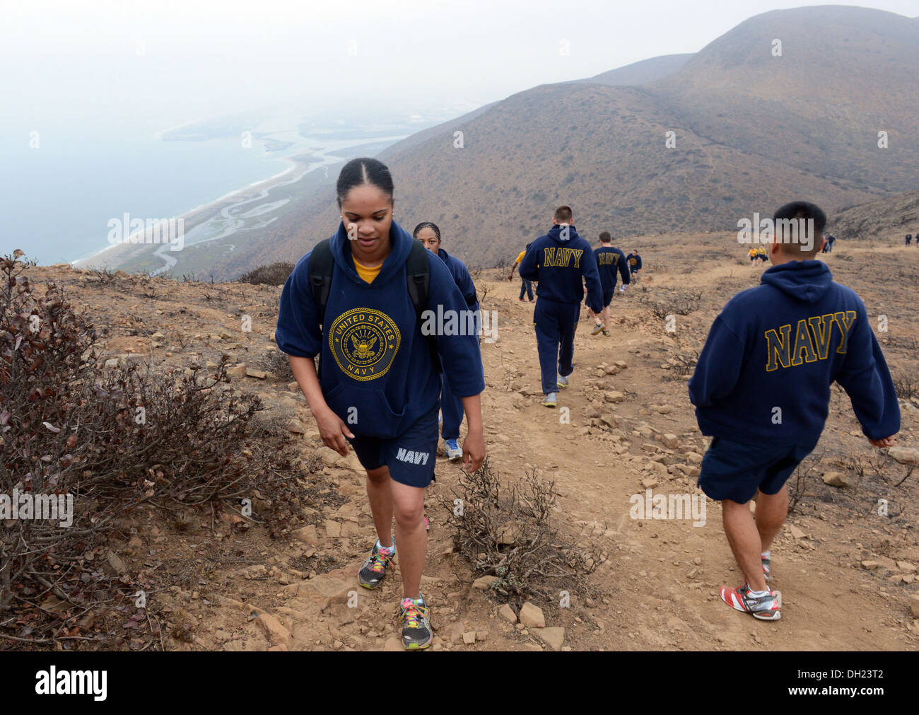 Santa Monica Mountains, Calif. (October 23, 2013) Builder 3rd Class Keyonna Epps hikes up the Chumash Trail while Stock Photo