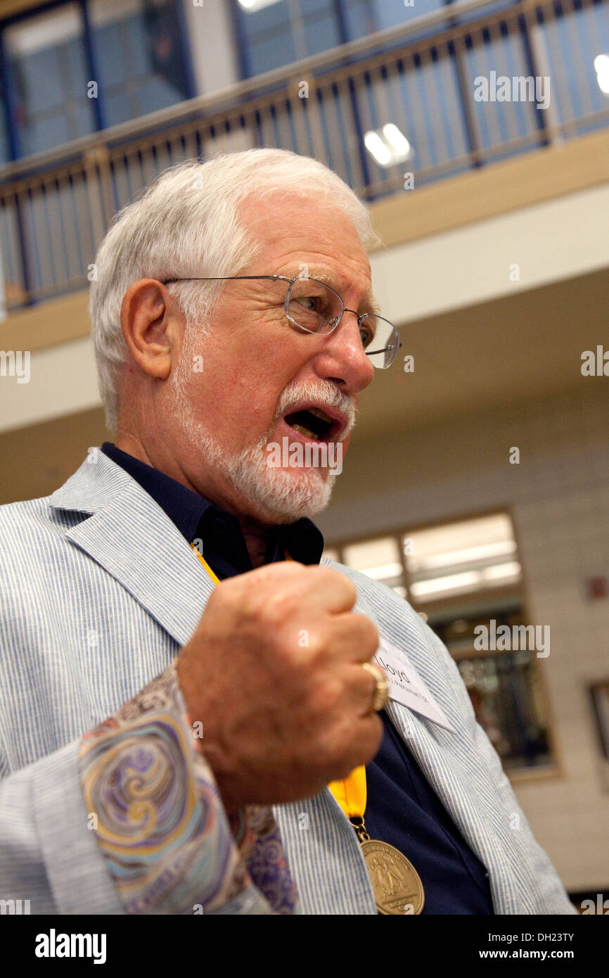 Macalester Collage graduate attending the Golden Scots Society celebrating 50 years since graduation. St Paul Minnesota MN USA - Stock Image