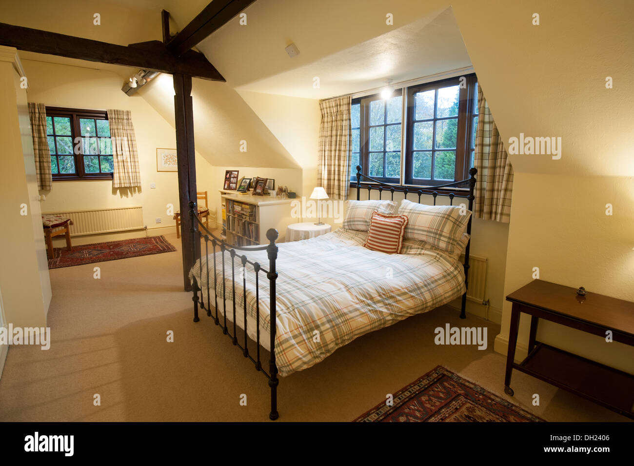 Country Cottage Bedroom Cast Iron Bed Stock Photo: 62127302 ...