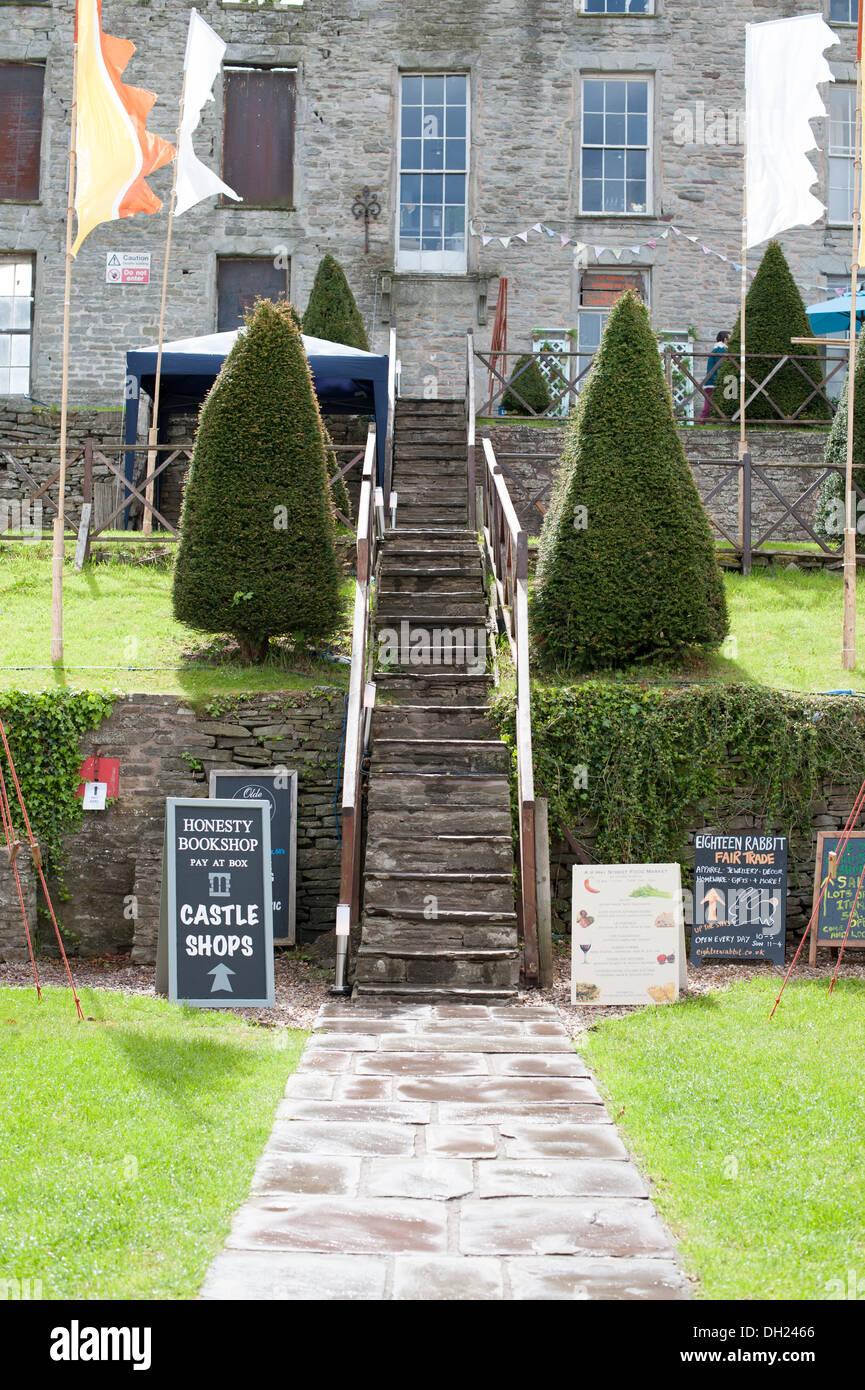 Castle Shop & Grounds Hay-On-Wye UK - Stock Image