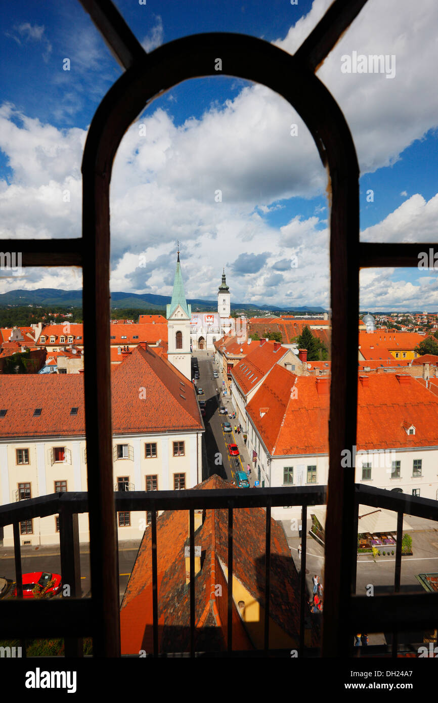 Zagreb town. View trough the window to upper town and st. Mark church on the back. - Stock Image