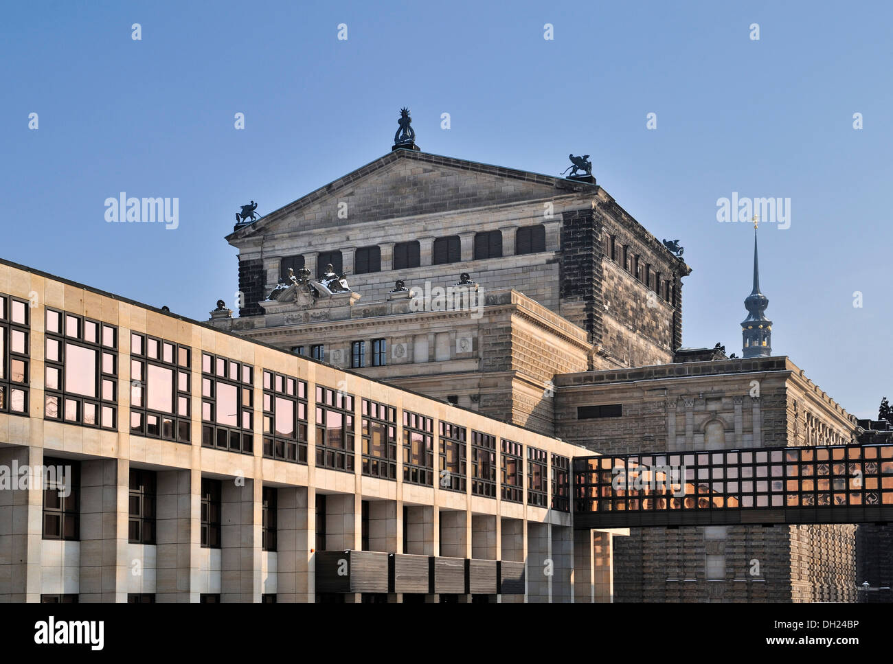 Semperoper Opera House with the adjoining function building at the rear, Dresden, Saxony, PublicGround - Stock Image