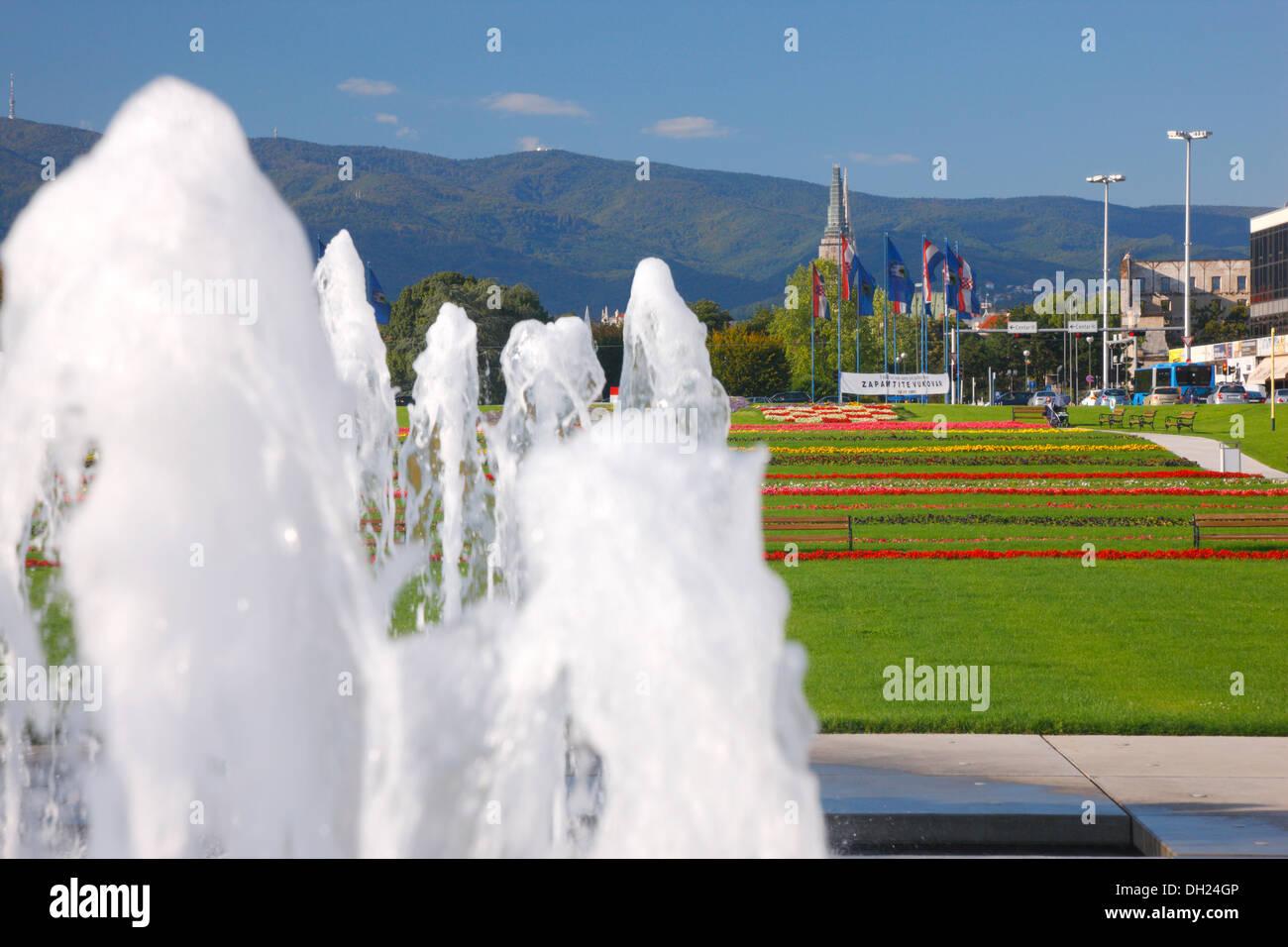 Zagreb, new fountain in Hrvatske Bratske Zajednice street Stock Photo