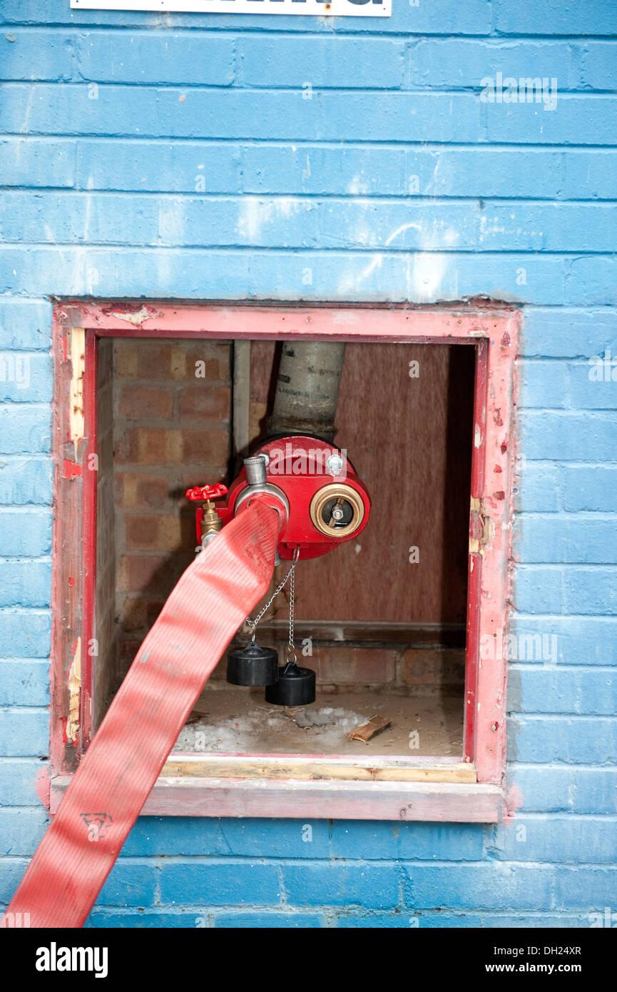 Fire Hose Dry Riser Inlet Valve High Rise Building Hose Stock Photo