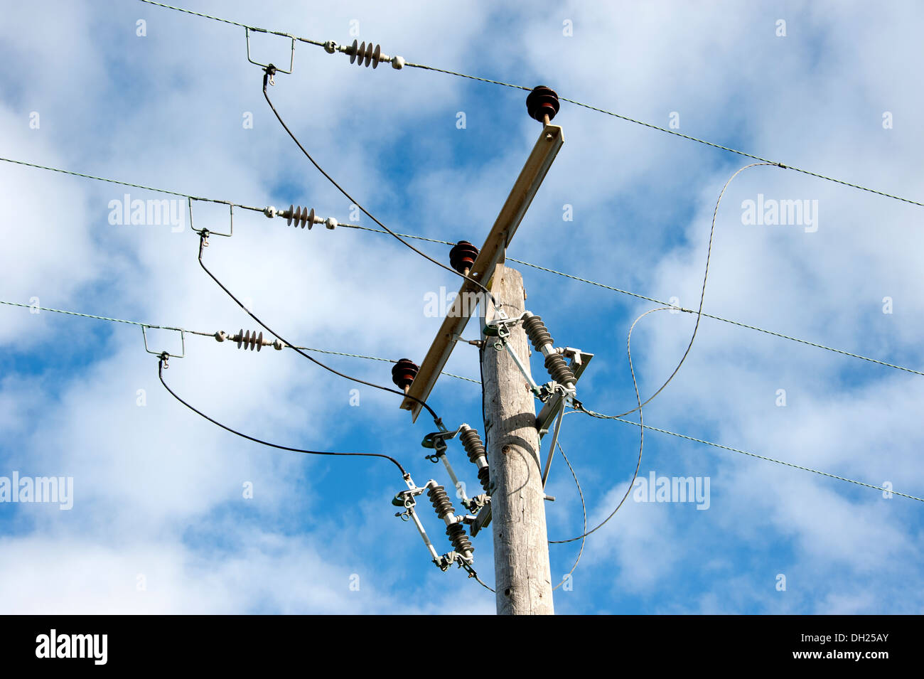 3 Phase High Voltage Electricity Wires Switchgear Stock Photo ...