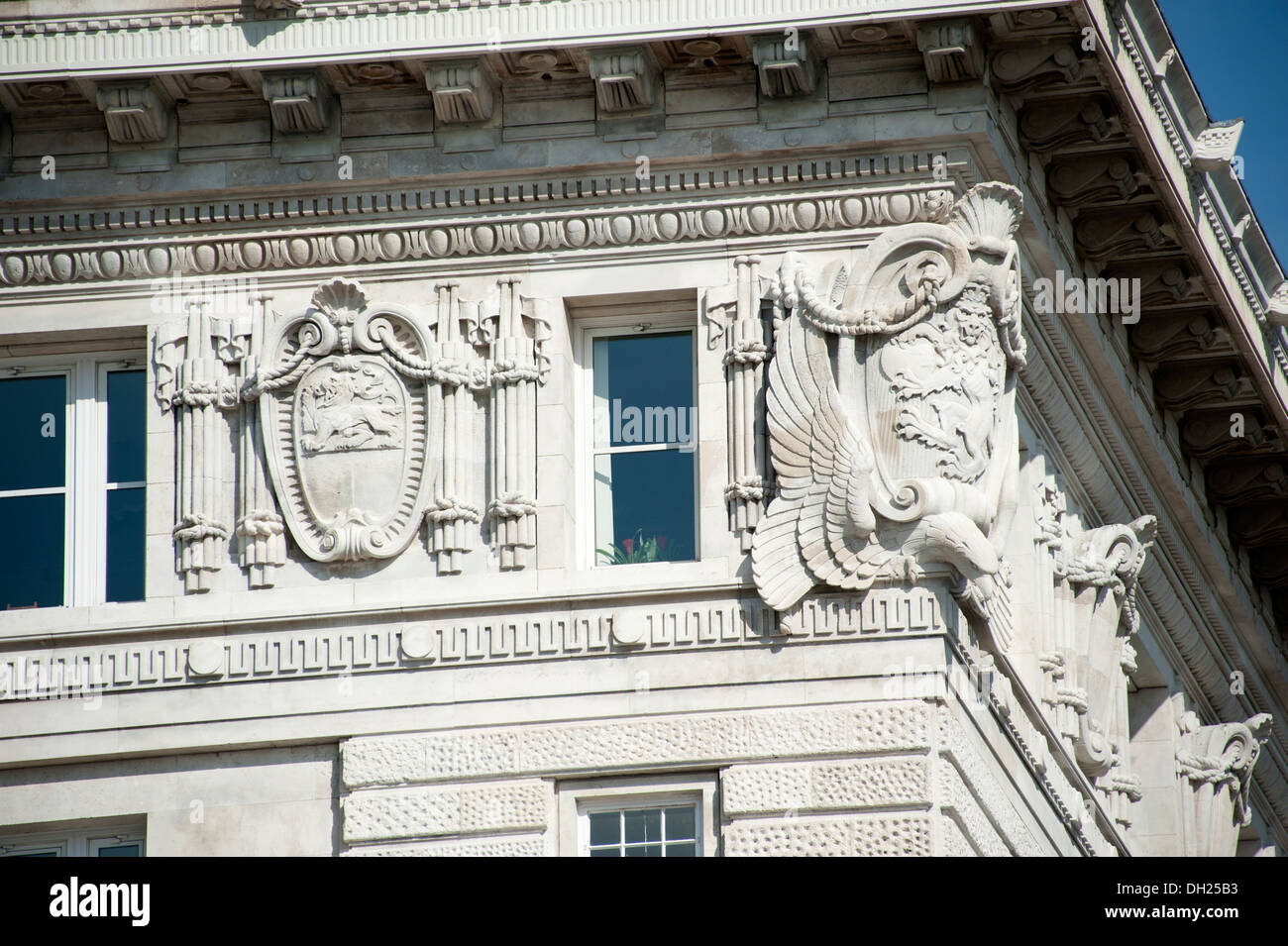 Ornate Stone carvings Public Building Liverpool UK - Stock Image