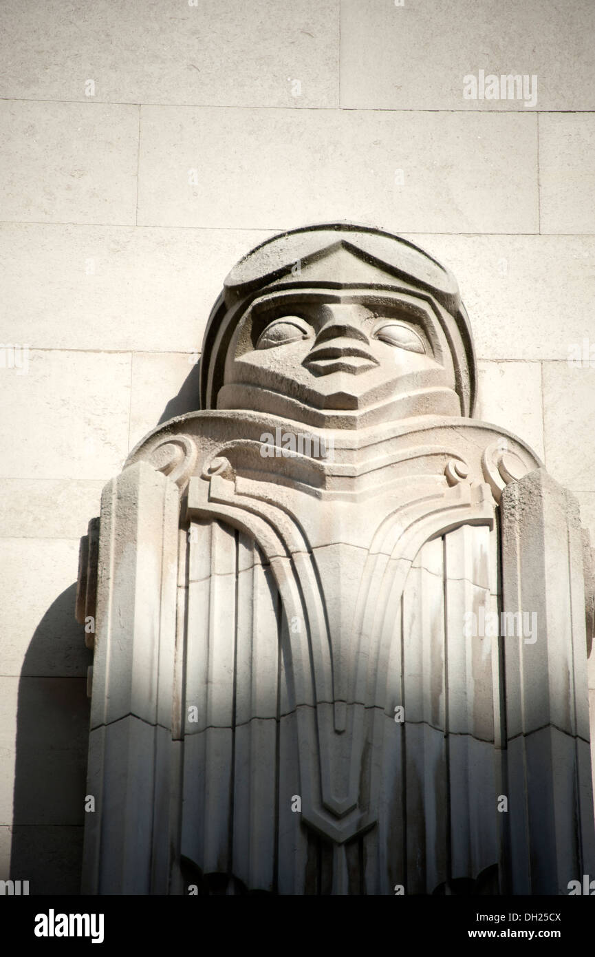1960s Stone Carving Modernist Face imposing Brutal - Stock Image