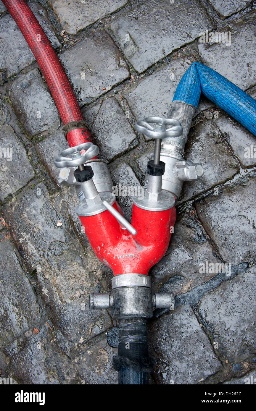 Fire Hose Dividing Branch Divider 75mm 50mm Twin - Stock Image