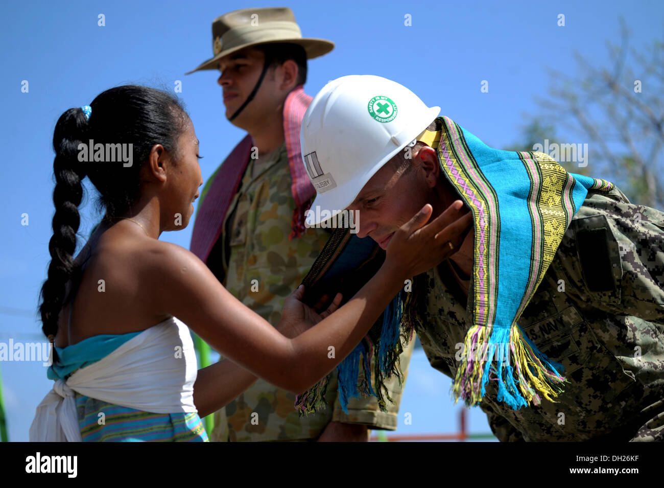 METRINARO, Timor-Leste – (Oct. 28, 2013) U.S. Navy Seabee Navy Lt. Brent Oglesby, the officer-in-charge of Naval Stock Photo
