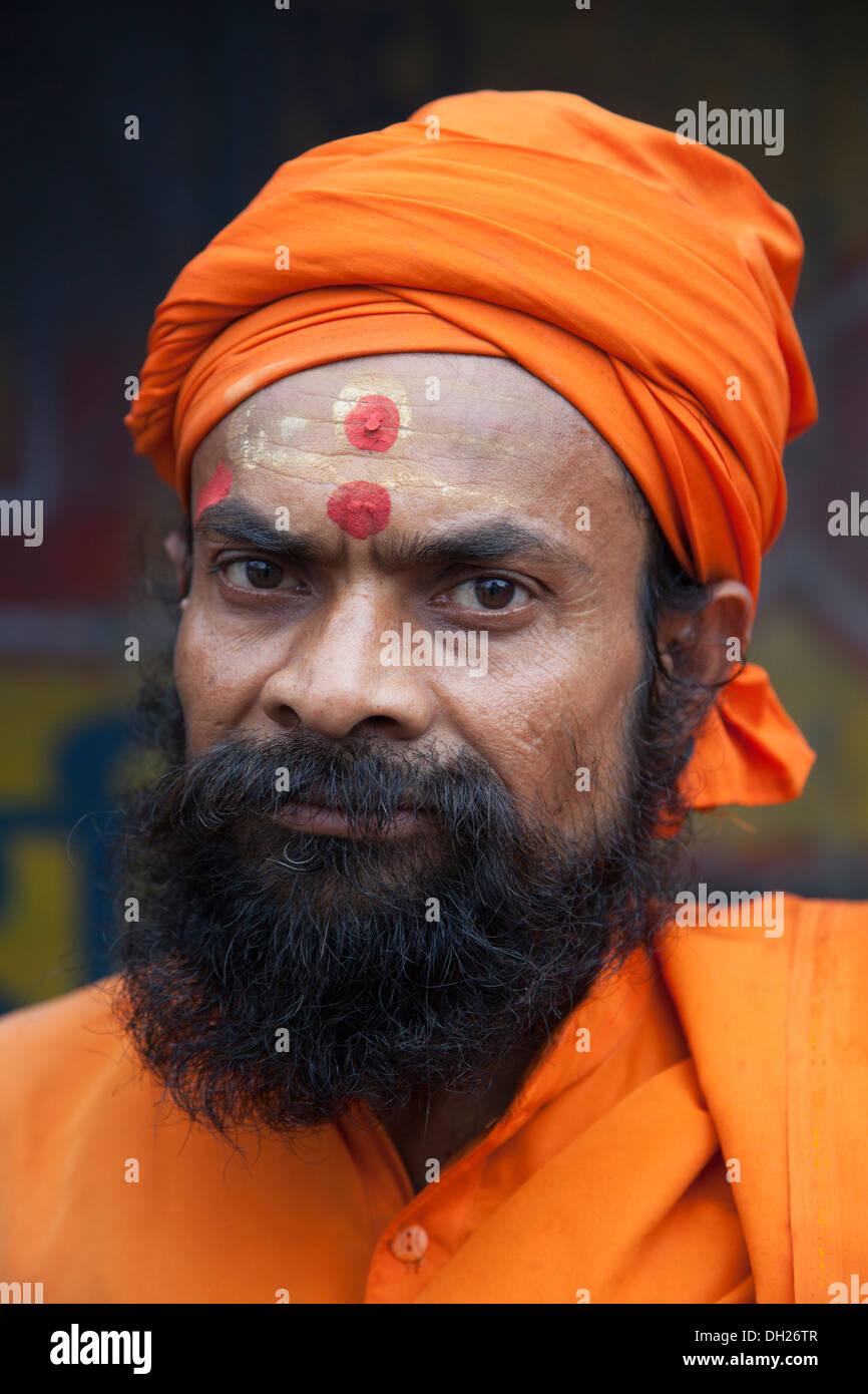 Bearded Sadhu holy man West Bengal, India - Stock Image