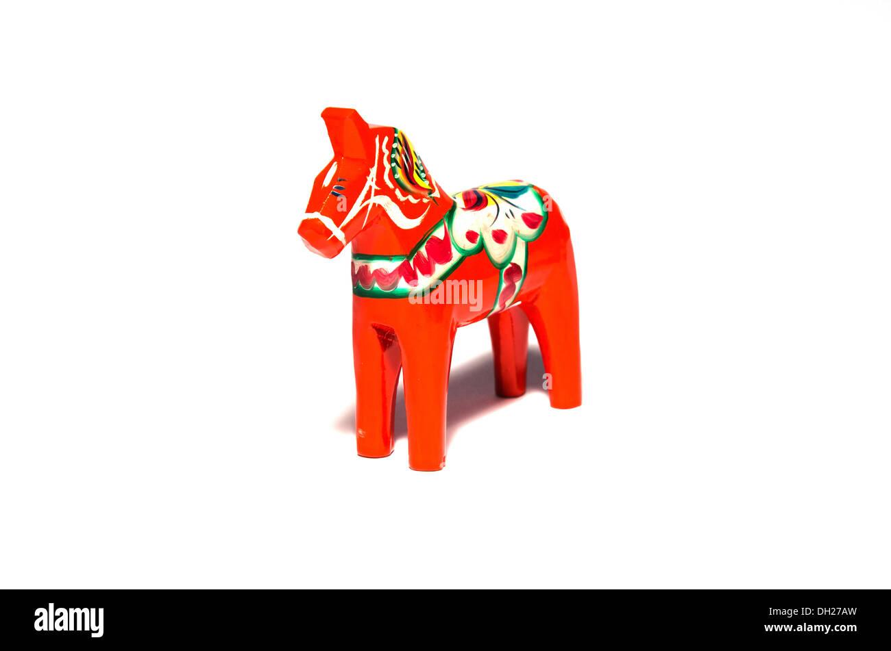 Dala horse, a swedish symbol carved of wood. - Stock Image