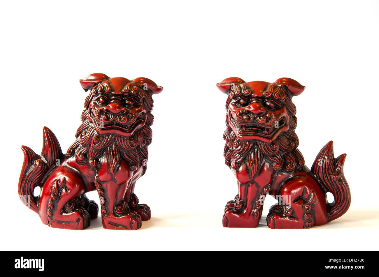 Shisa fugures used as mythology protection at the japanese islands Okinawa. - Stock Image