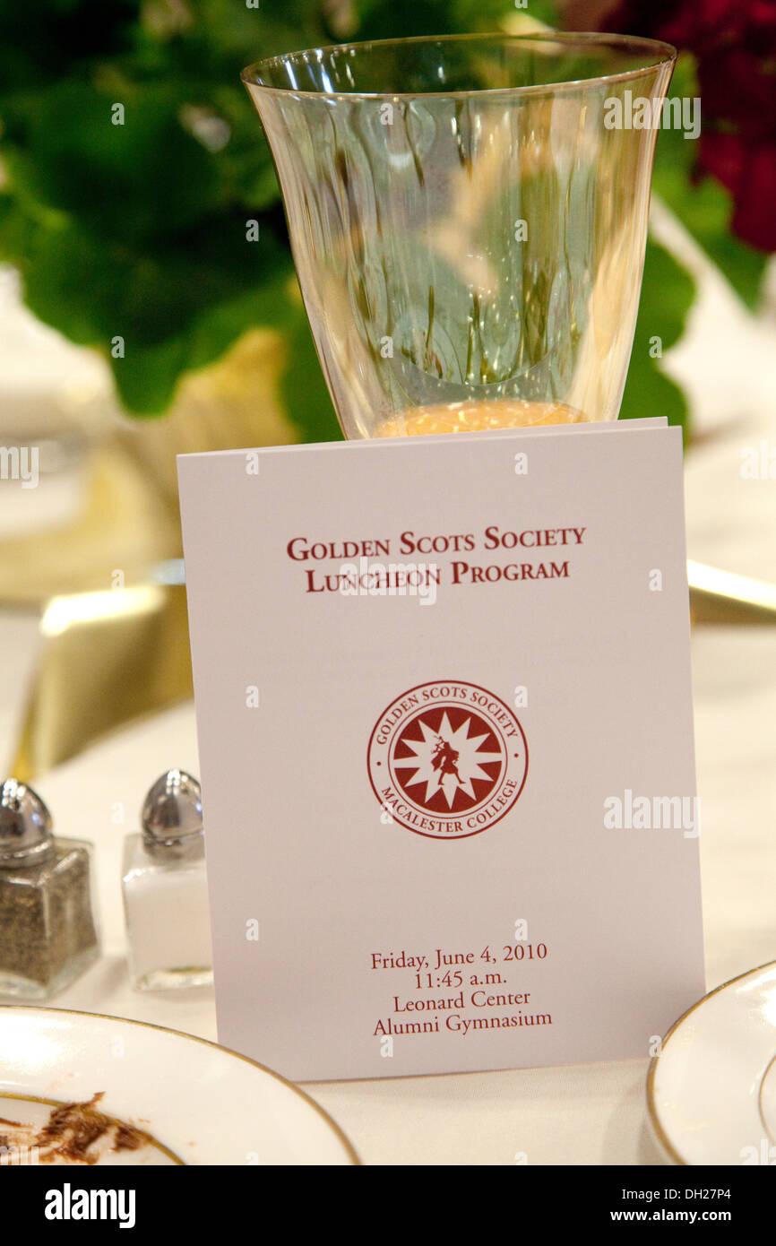 Program for Macalester College's Golden Scots Society luncheon celebrating 50 years since graduation. St Paul Minnesota MN USA - Stock Image