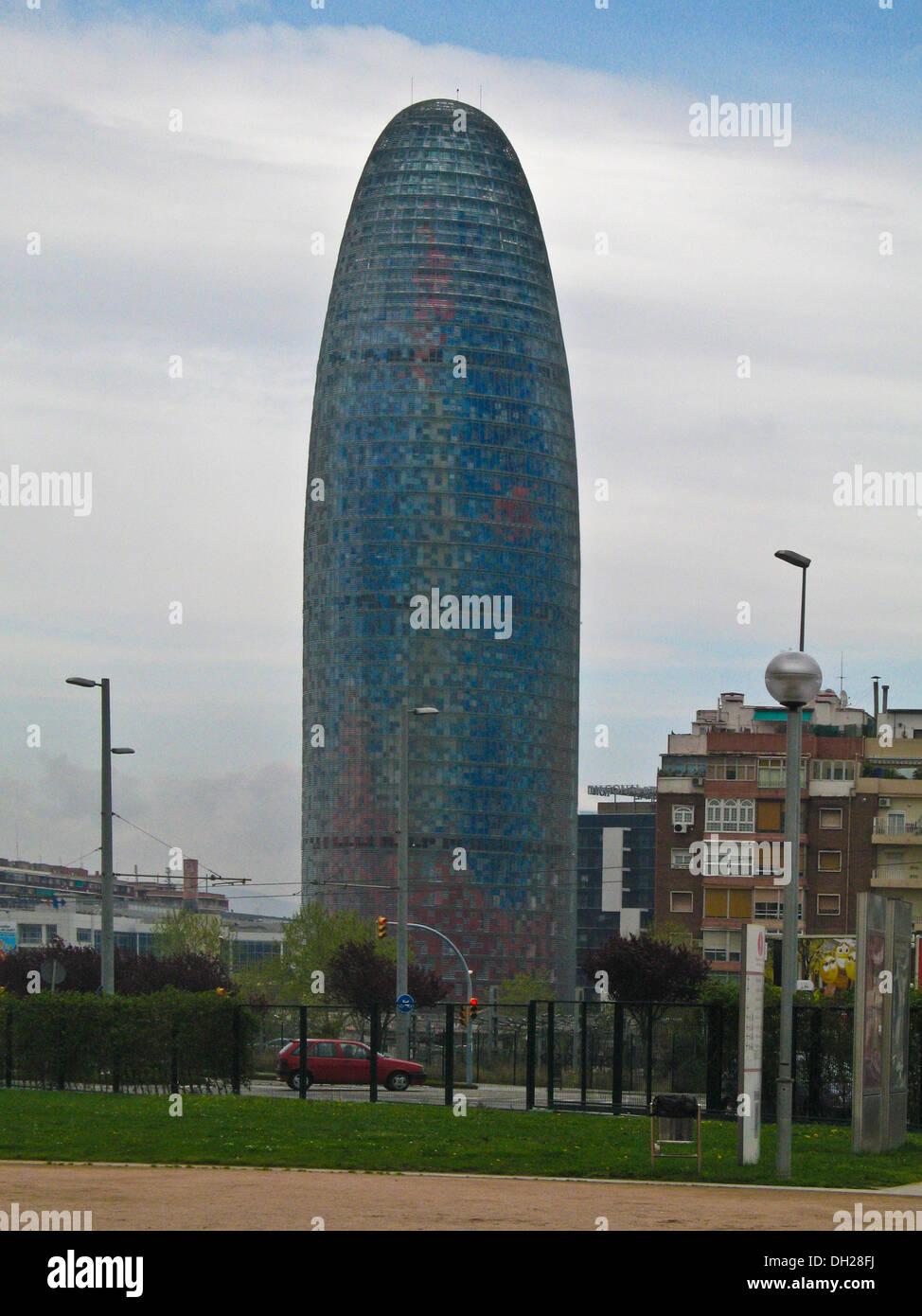38-story skyscraper / tower ,The Torre Agbar, located  between Avinguda Diagonal and Carrer Badajoz, Barcelona, Catalonia, Spain - Stock Image