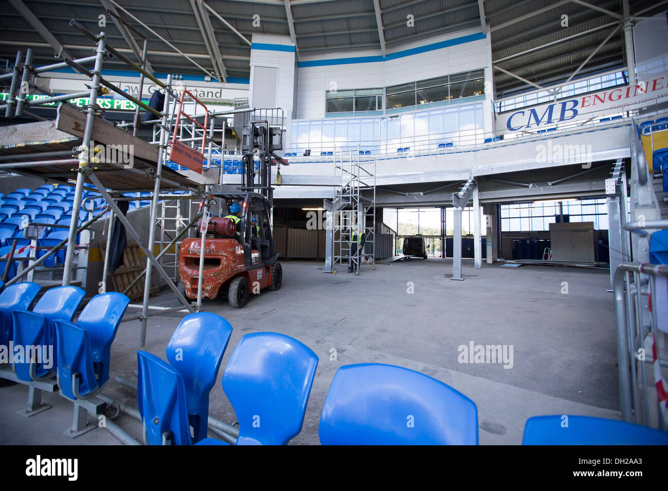 Cardiff City stadium increase their capacity by installing new seating at the home of Premiership football side Cardiff City. - Stock Image