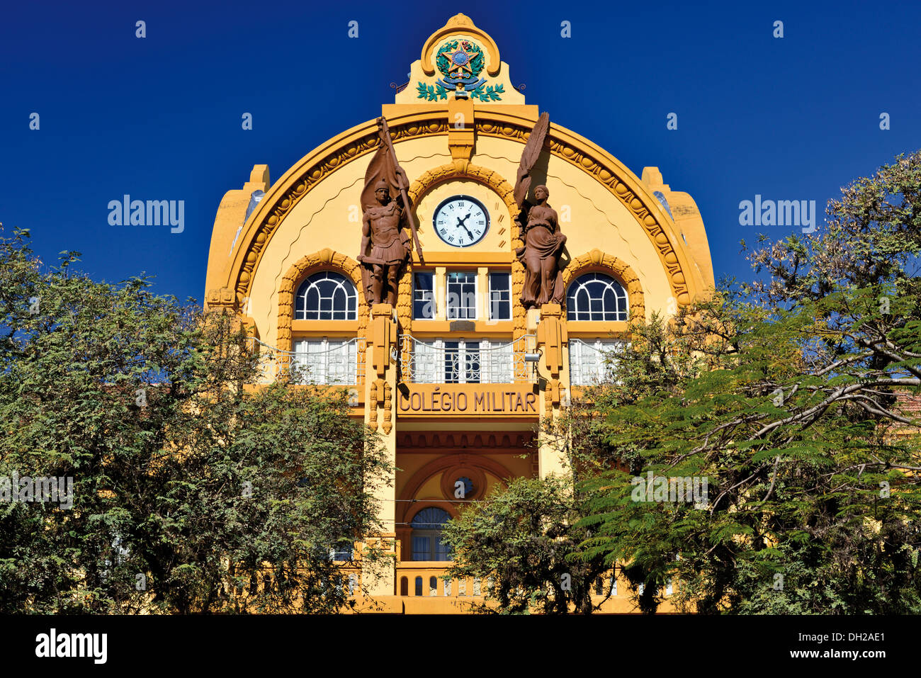 Brazil, Porto Alegre: Detail of the historic Military School building - Stock Image