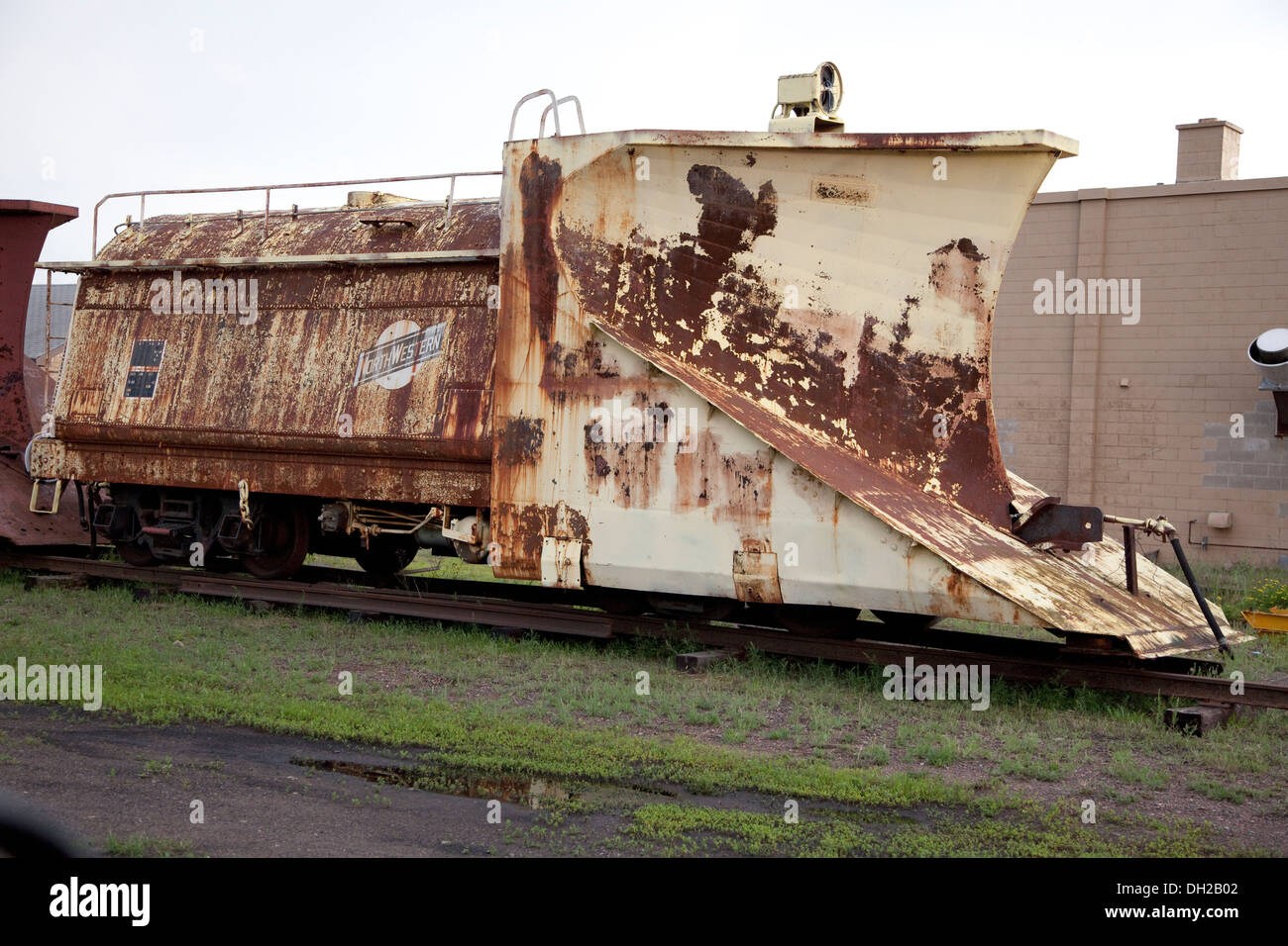 Antique dilapidated railroad snowplow. Great Northern Railroad Spooner Wisconsin WI USA - Stock Image