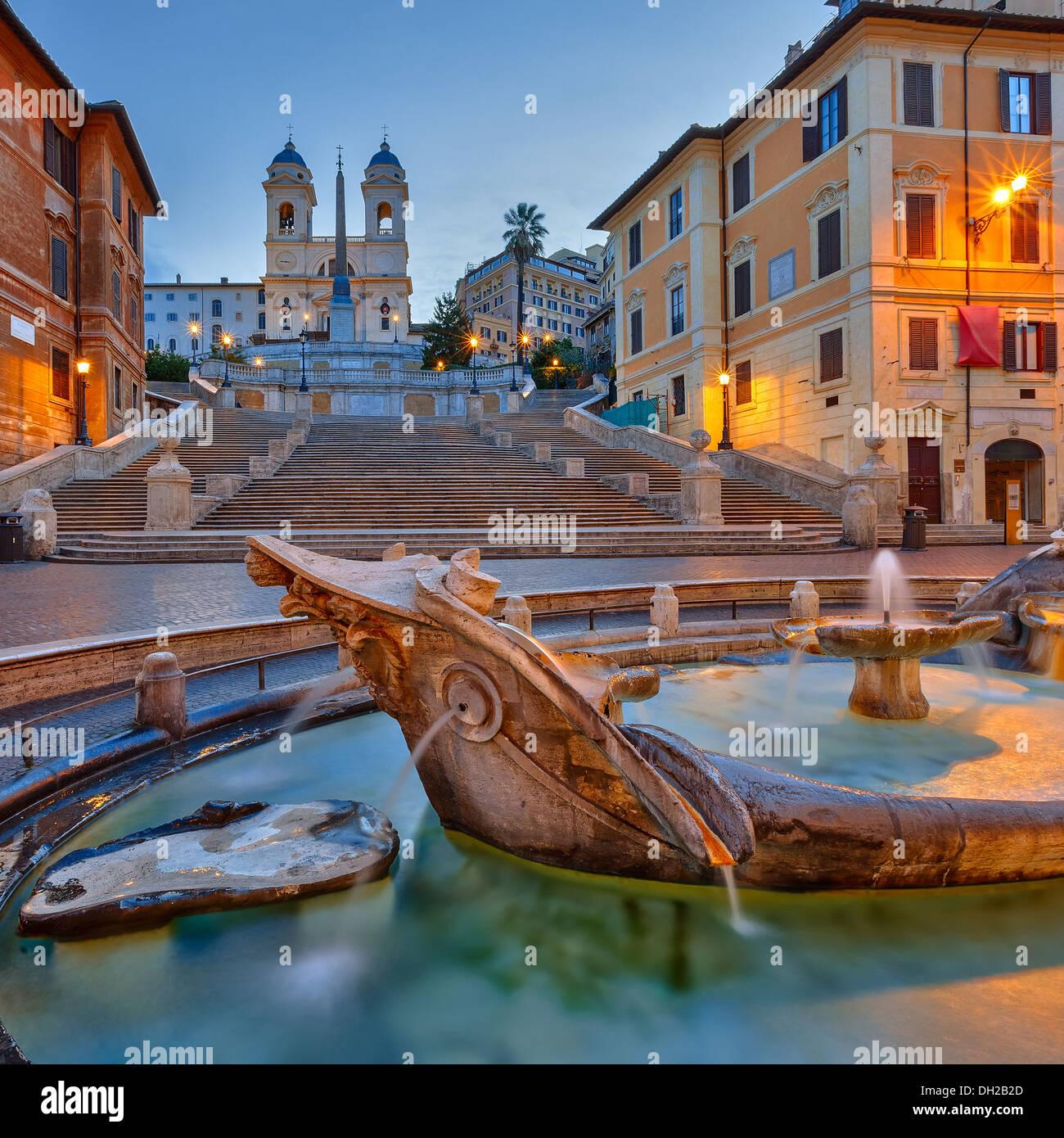 Spanish Steps at dusk, Rome - Stock Image