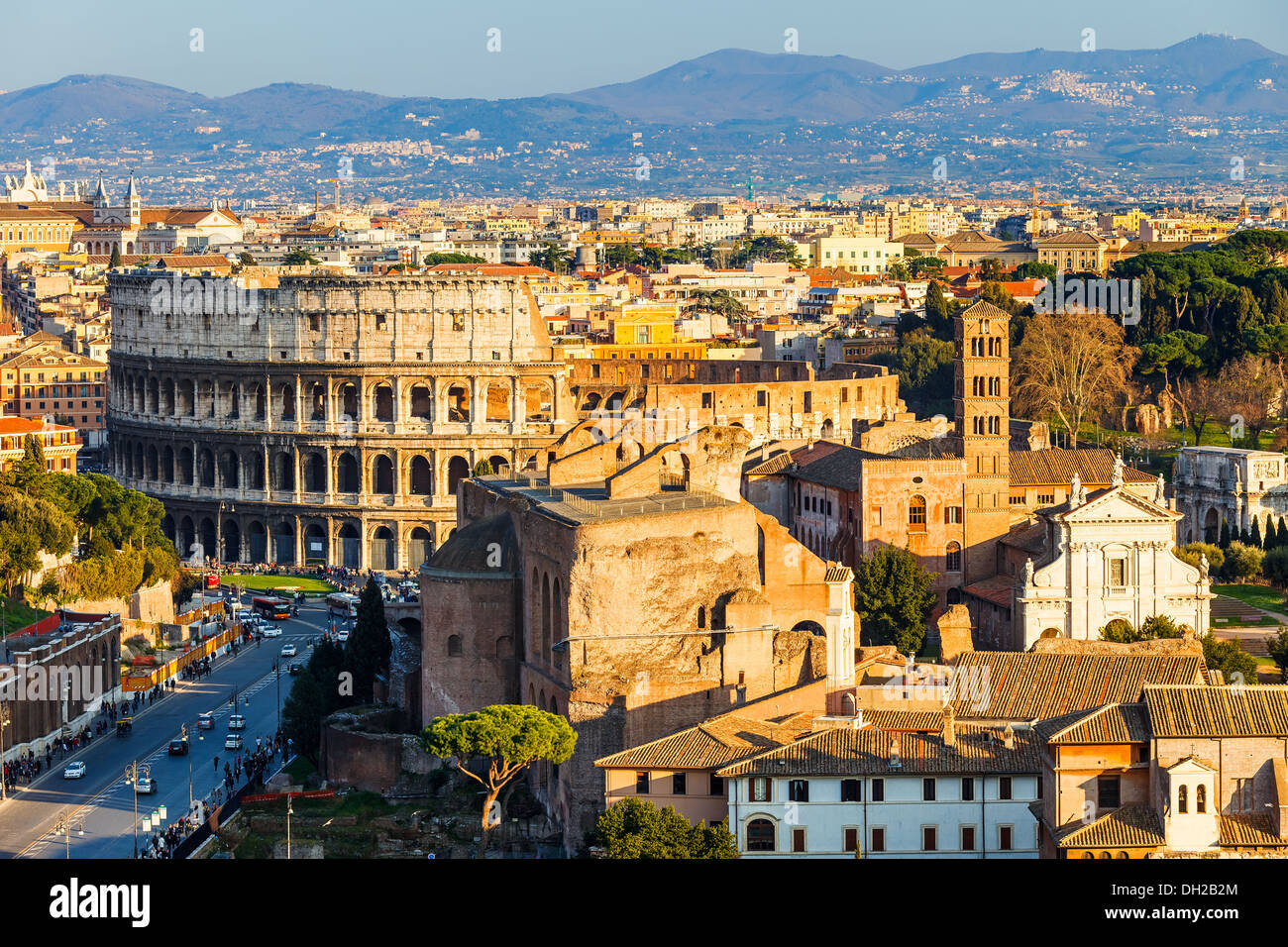 Colosseum at sunset - Stock Image