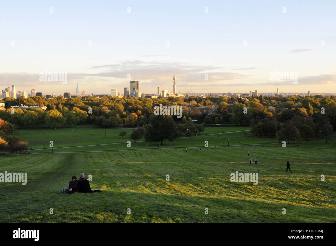 A view of central London from Primrose Hill, UK - Stock Image