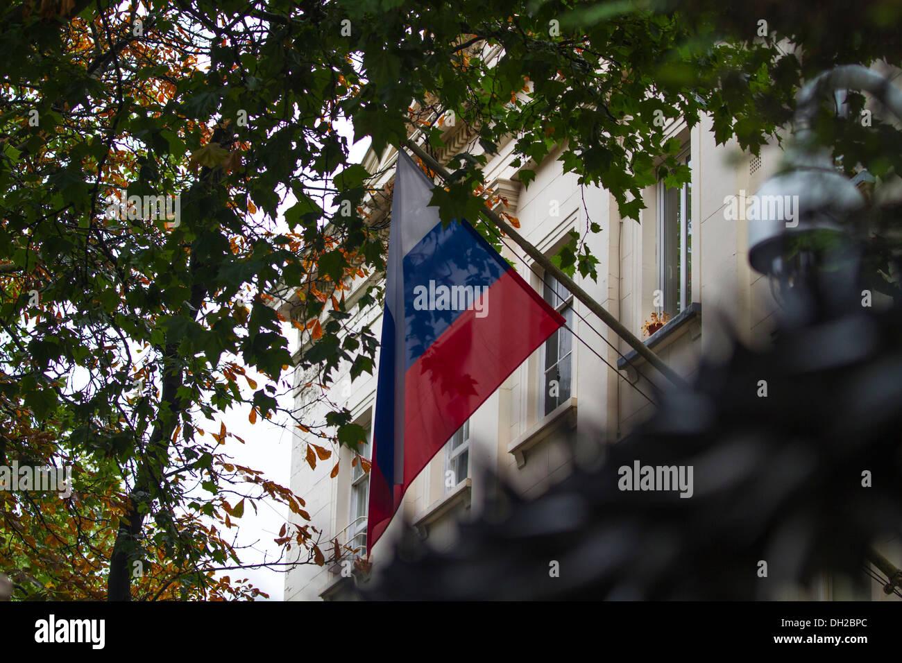 Flag flies outside Russian Embassy, London, UK - Stock Image