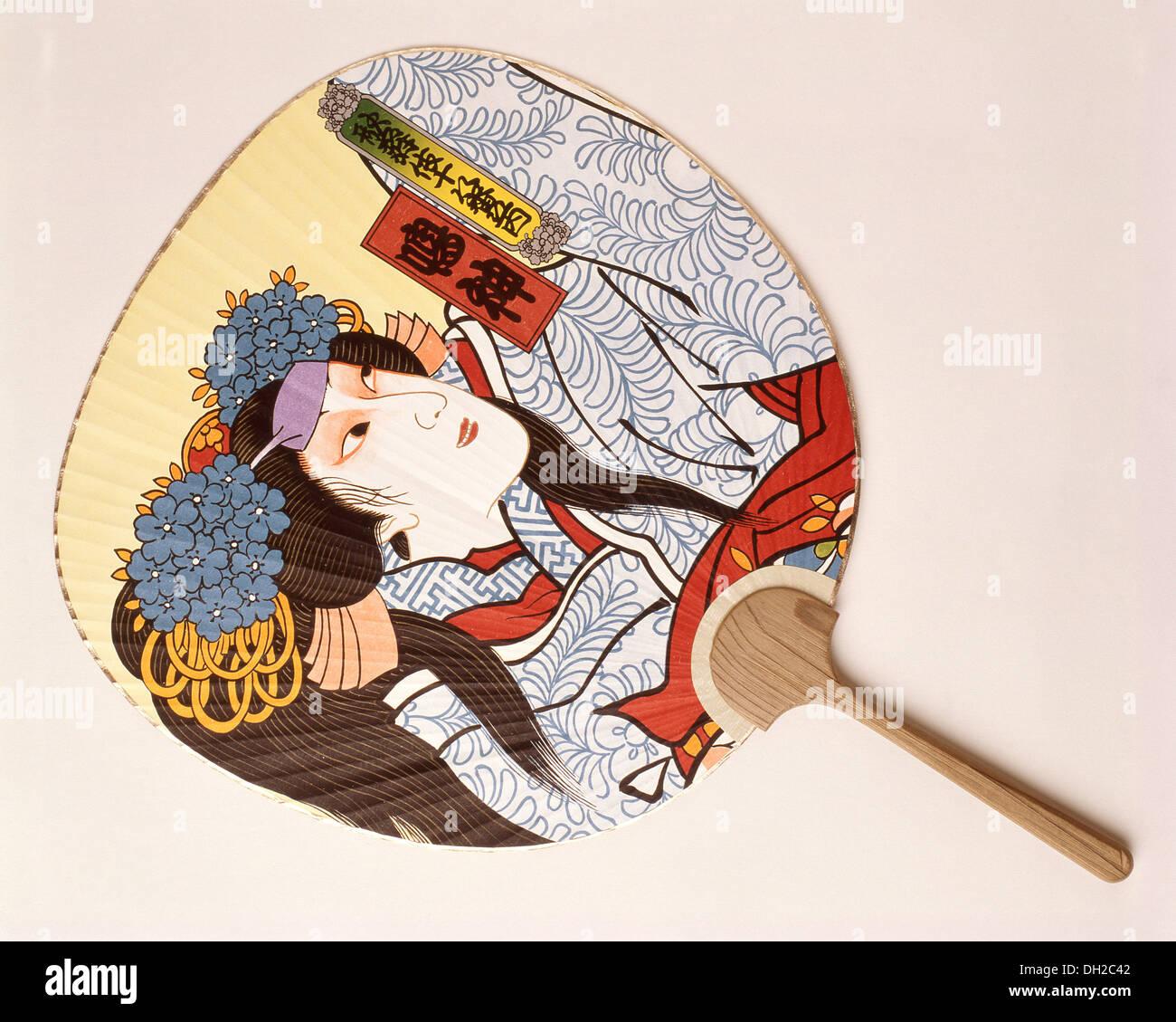 Japanese Kyw Urchiwa round fan, Kanagawa Prefecture, Honshu, Japan - Stock Image