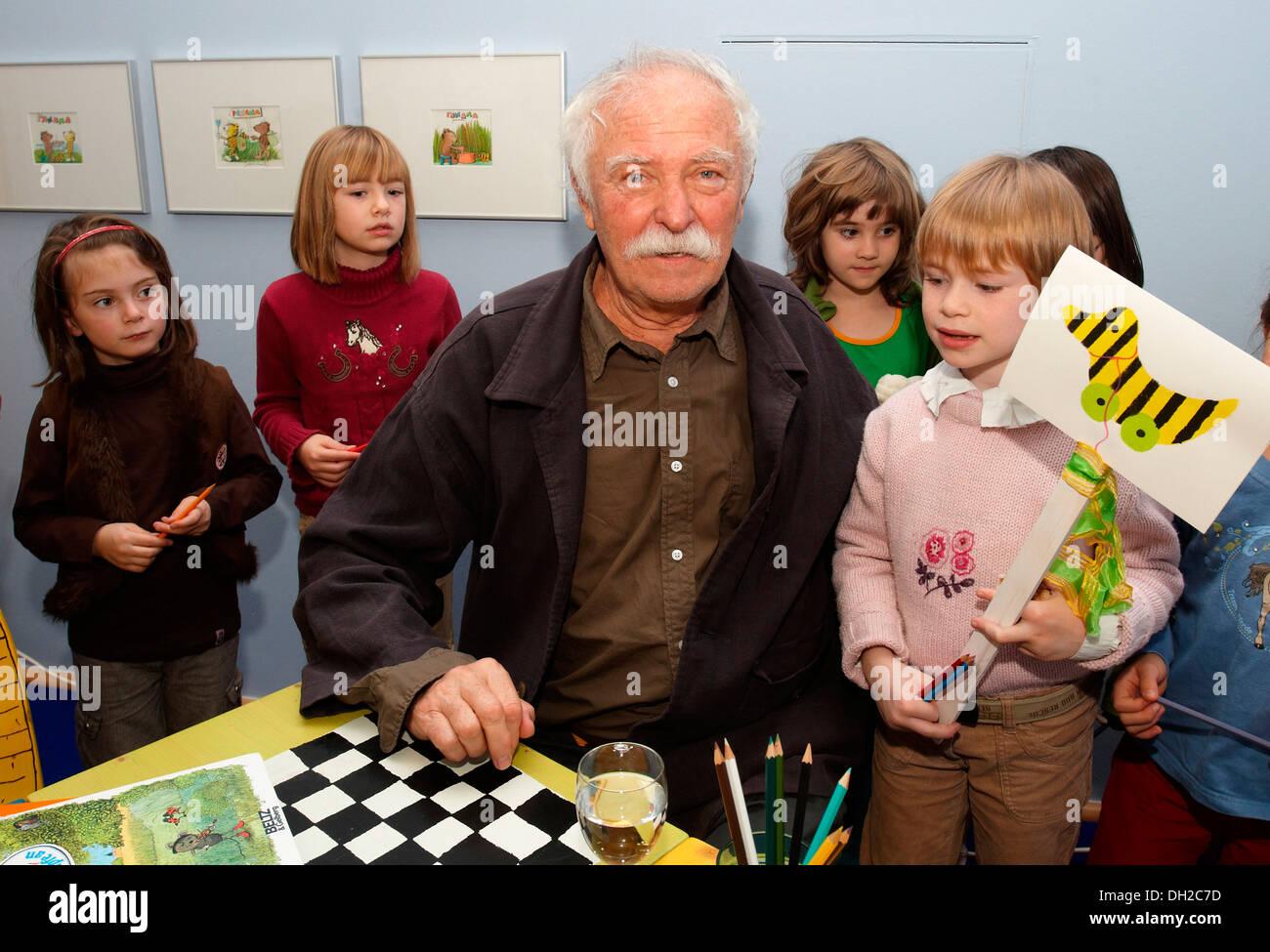The illustrator, children's book author and writer Janosch aka Horst Eckert at the opening of his exhibition at the Ludwig - Stock Image