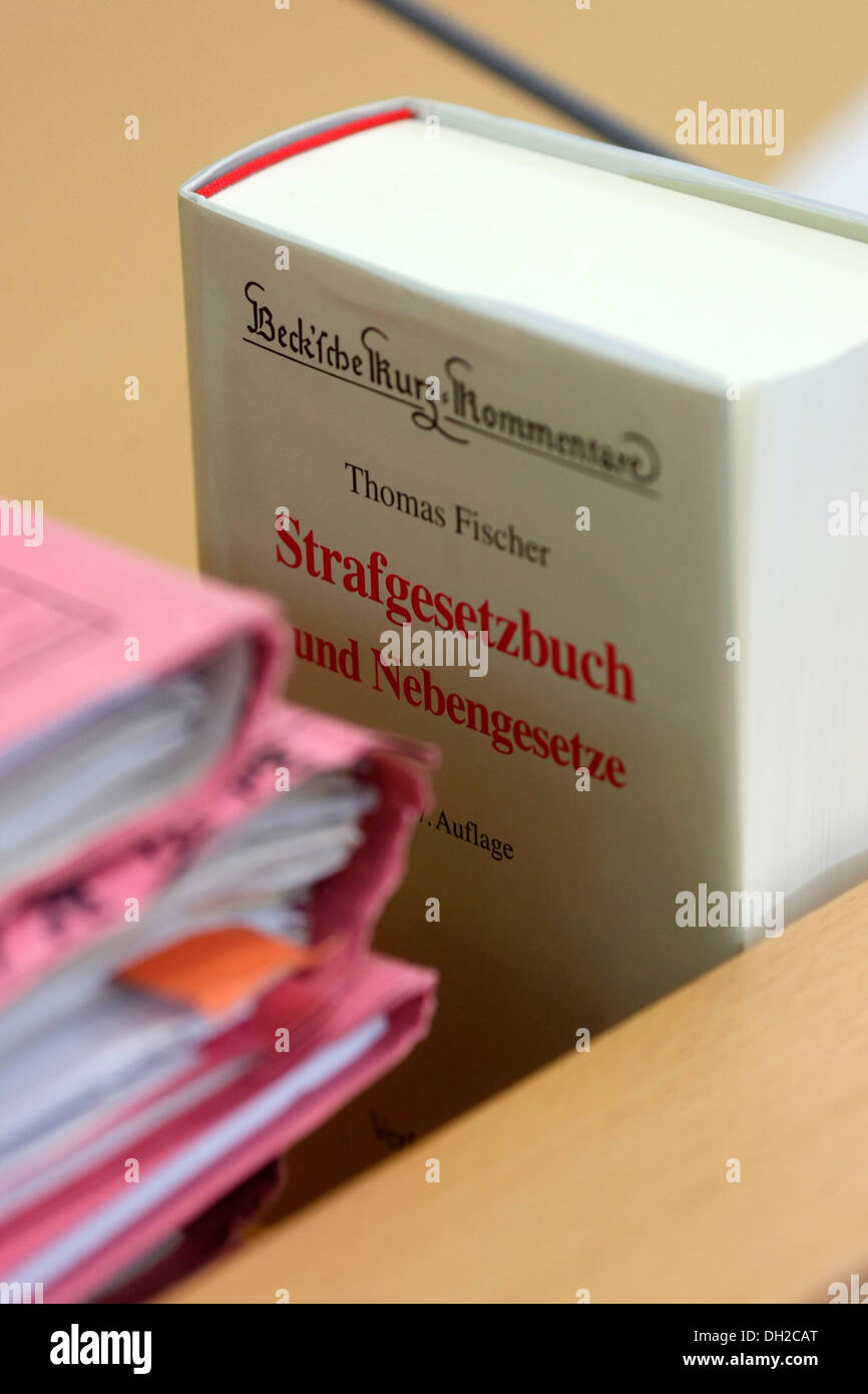 Case files and Code of Criminal Procedure book on the judge's bench of Trier District Court, Trier, Rhineland-Palatinate - Stock Image