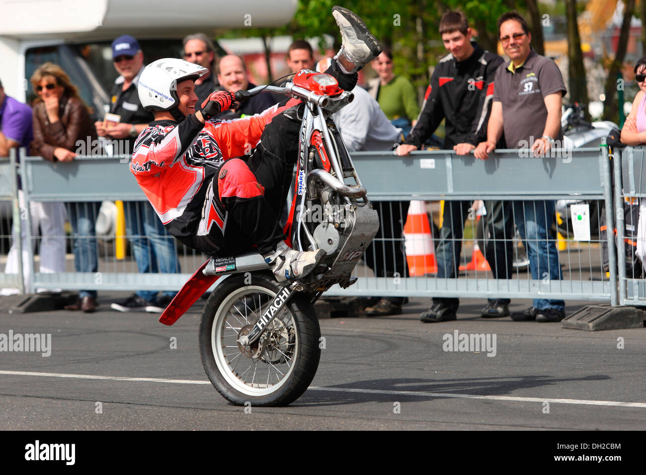 Stuntman Mike Auffenberg driving a trial motorcycle without a front wheel, Koblenz, Rhineland-Palatinate - Stock Image