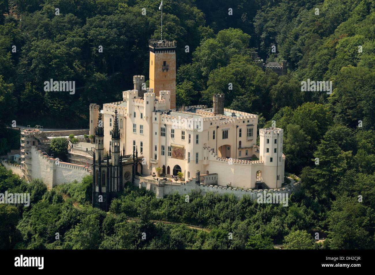 Aerial view, Schloss Stolzenfels Castle, Koblenz Stock ...