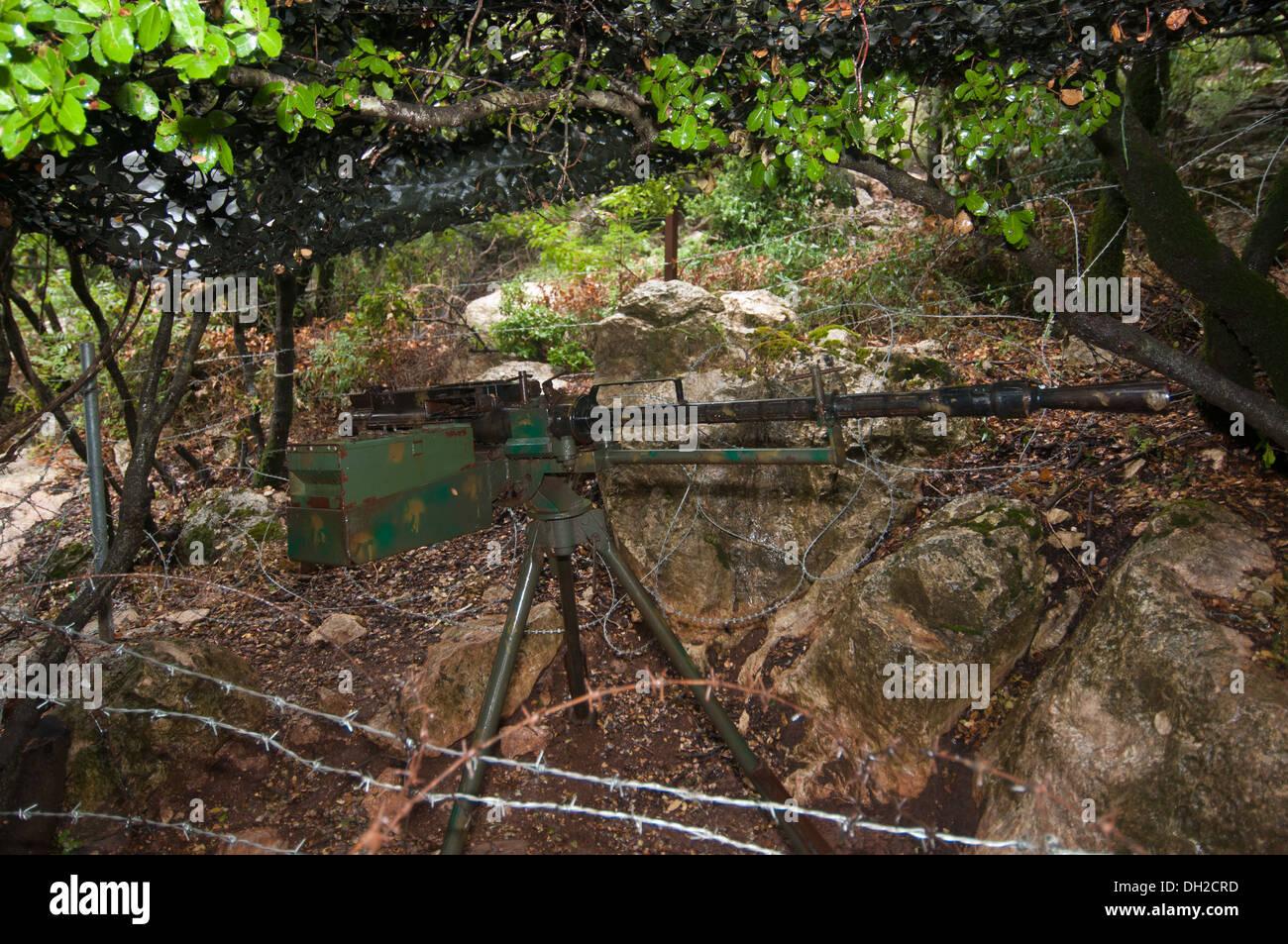 The KPV-14.5 heavy machine gun is a Soviet designed 14.5x114mm-caliber heavy machine gun, Mleeta, Hezbollah Museum, South Lebano - Stock Image
