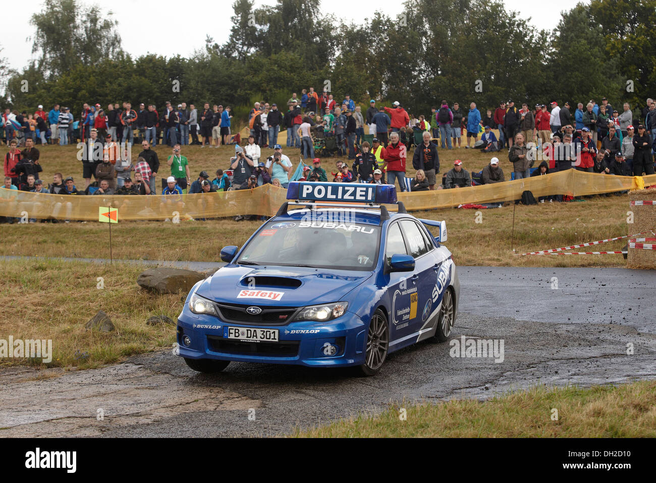 ADAC Rally Deutschland, special stage, Baumholder military training area, a Subaru police car of Baumholder police is the - Stock Image