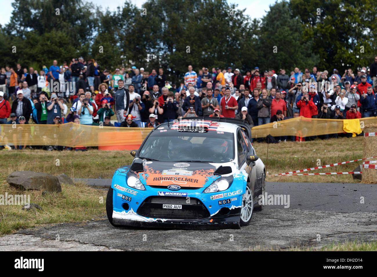 ADAC Rally Deutschland, special stage, Baumholder military training area, Mads Oestberg, NOR, and co-driver Jonas Andersson, SWE - Stock Image