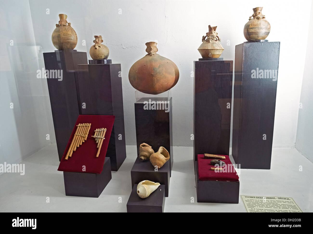 Artifacts at the Archeology Museum of Ancash,Huaraz, Peru. - Stock Image