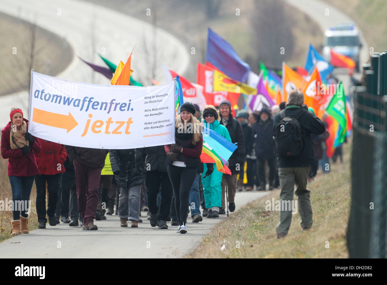 Easter peace demonstration at the aerodrome in Buechel, Büchel, Rhineland-Palatinate, Germany Stock Photo